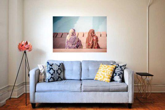 Wandbild mit indischen Frauen