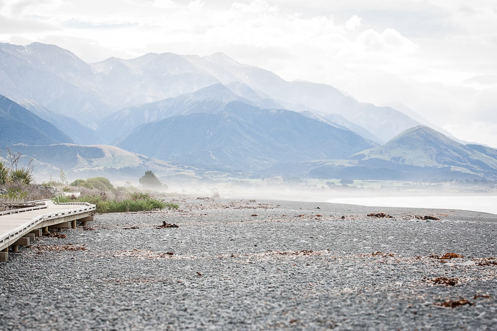 Strand und Steg in Kaikoura Neuseeland