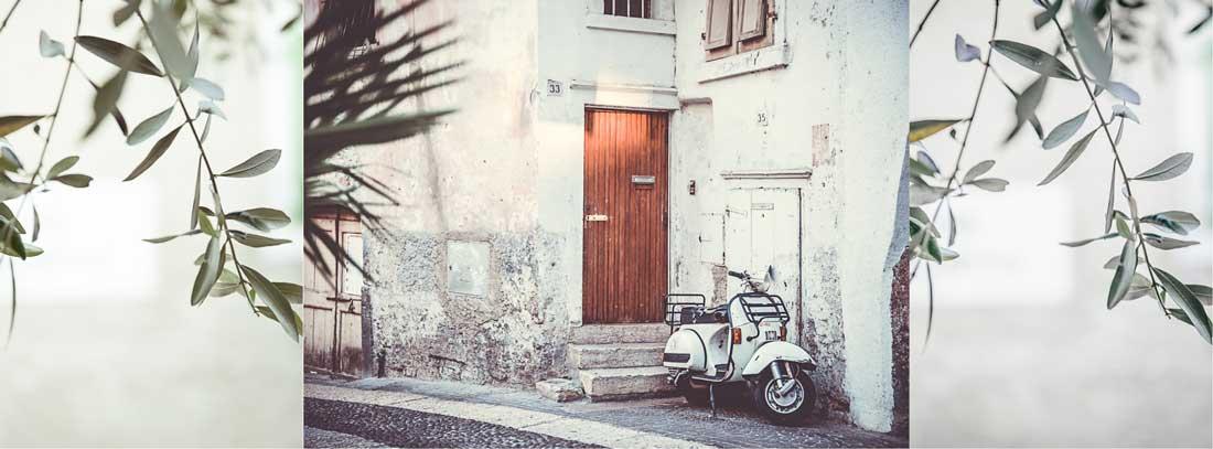 Collage von Arco mit Roller und Olivenzweige