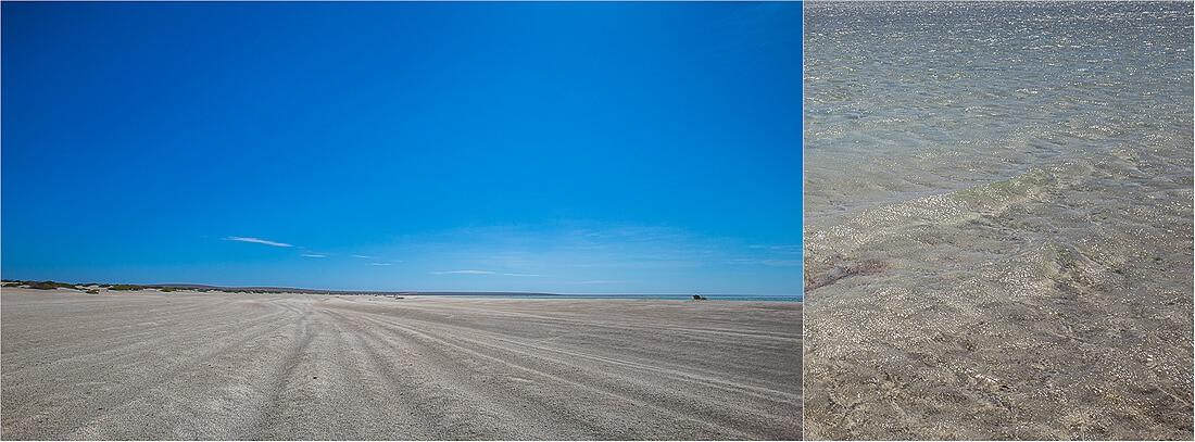 Shell Beach mit blauem Himmel in Australien