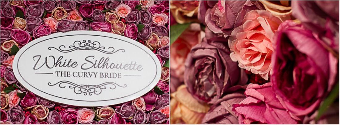 Collage Logo White Silhouette the curvy bride und Rosen