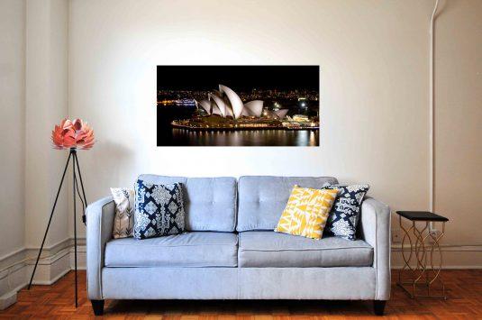 Wandbild Sydney Oper hinter Couch