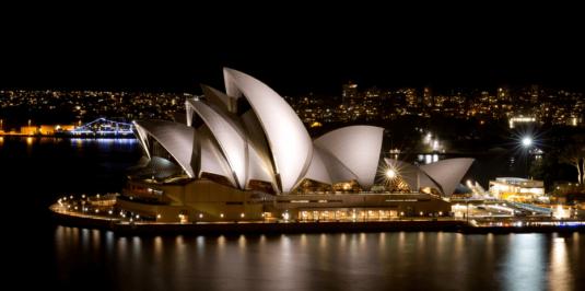 Wandbild Sydney Oper bei Nacht