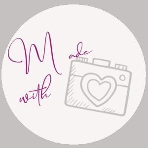 Logo für Fotokurs Kamera Schriftzug made with