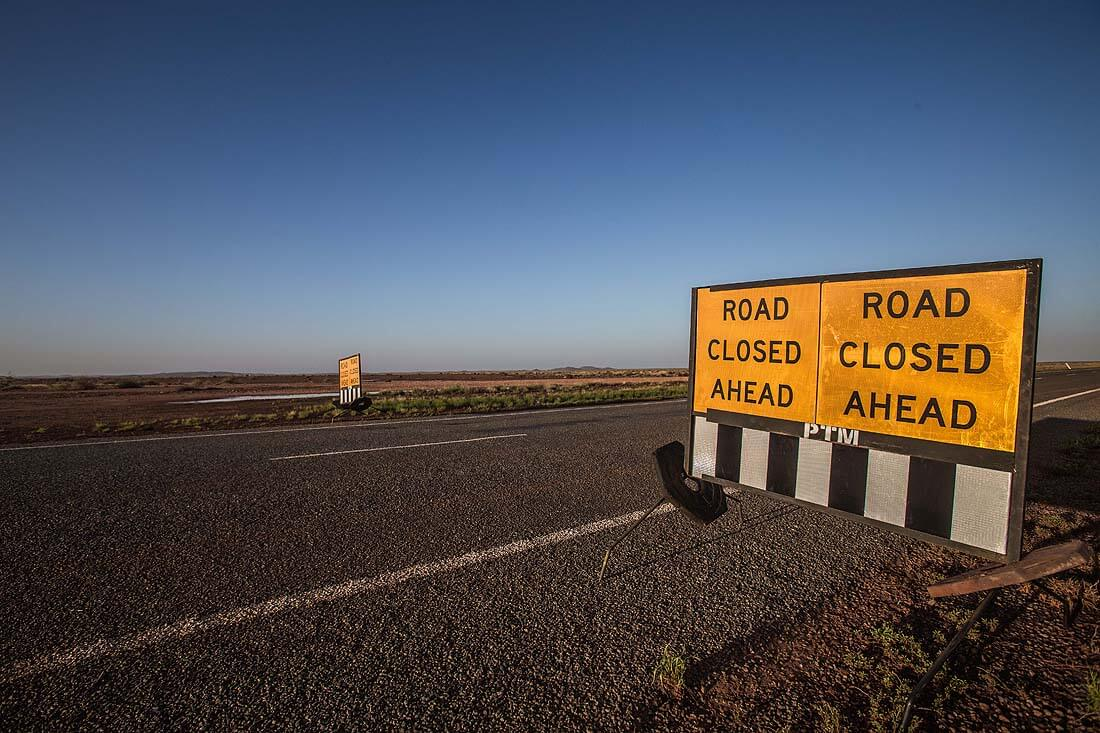 Roadsign Road Closed Ahead Western Australia