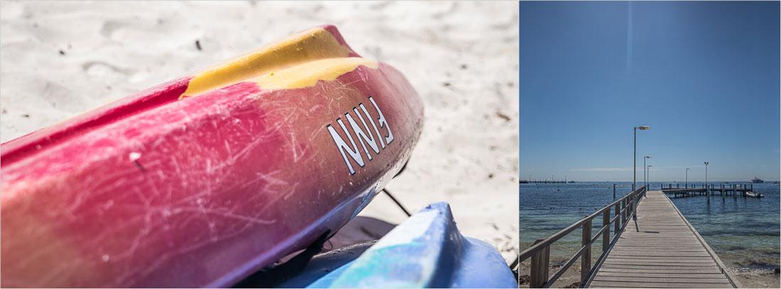 Surfboards auf Rottnest Island und Holzsteg