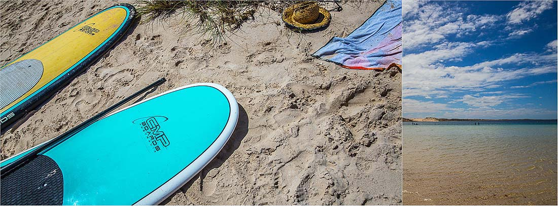 Coral Bay Exmouth Strand und Surfboards